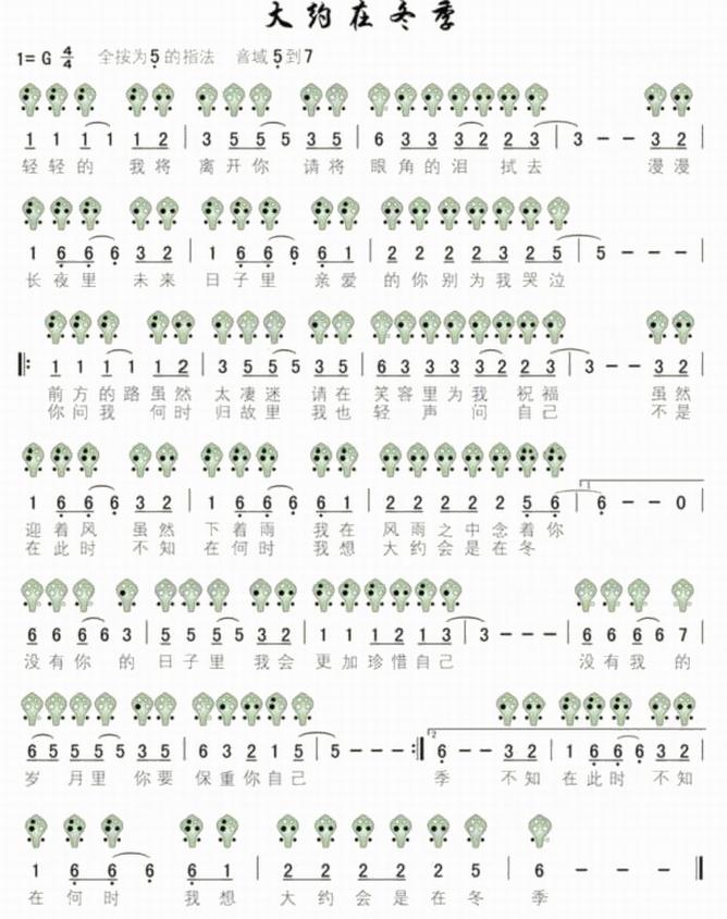 六孔陶笛曲谱大约在冬季