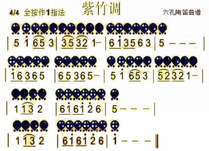 六孔陶笛曲谱紫竹调